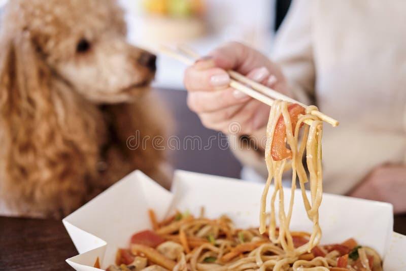 A mulher aprecia a refeição tailandesa japonesa em casa imagem de stock royalty free