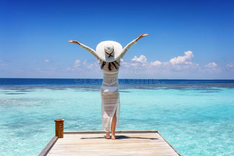 A mulher aprecia a vista à posição tropical do mar em uma borda de madeira do cais imagem de stock
