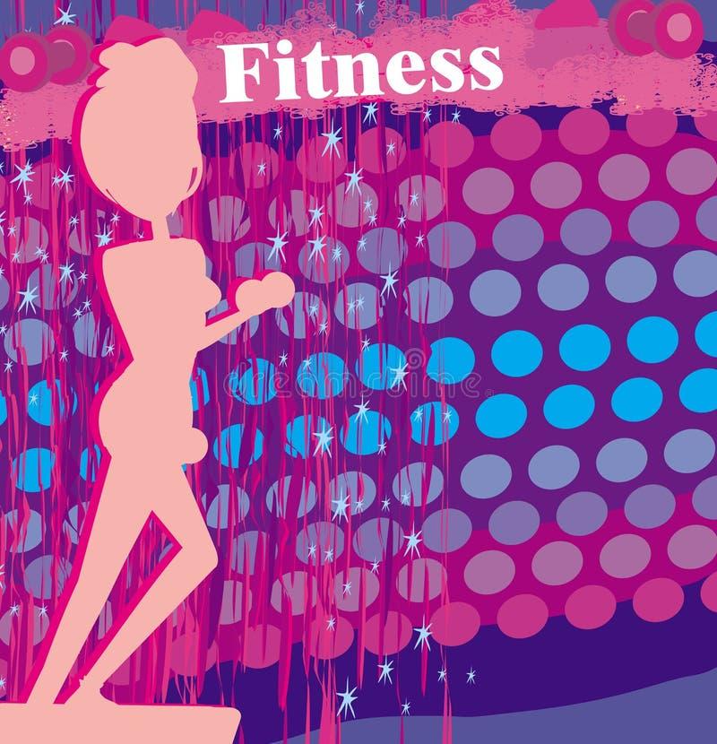 Mulher apta que exercita - silhueta, cartão abstrato ilustração stock