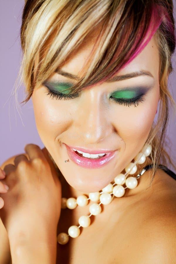 Mulher asiática bonita com composição imagens de stock royalty free