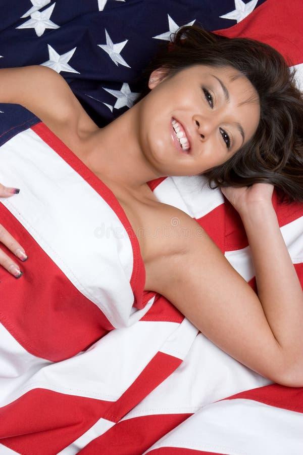 Mulher asiática de sorriso da bandeira imagens de stock royalty free
