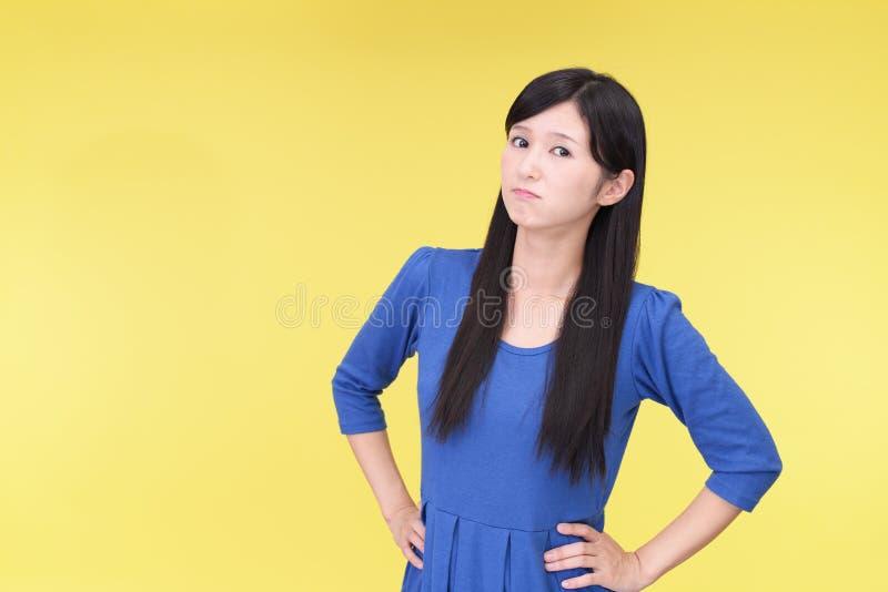 Mulher asiática descontentada fotografia de stock royalty free