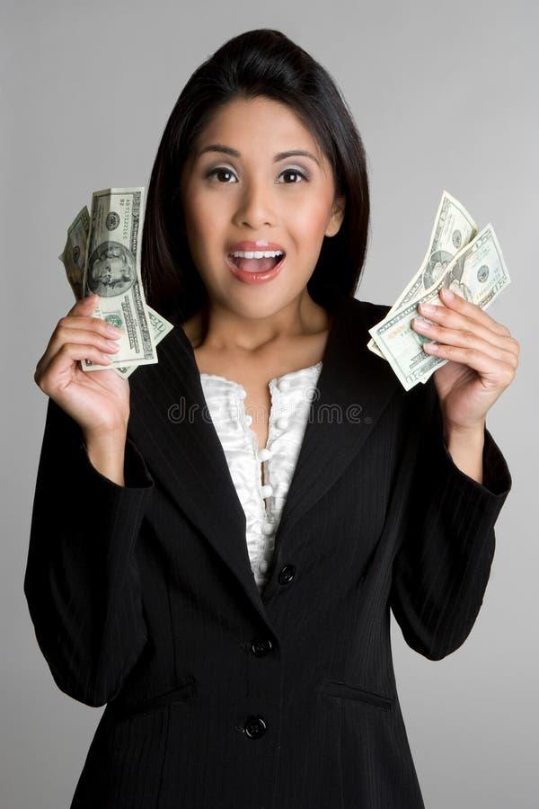 Mulher asiática do dinheiro imagem de stock