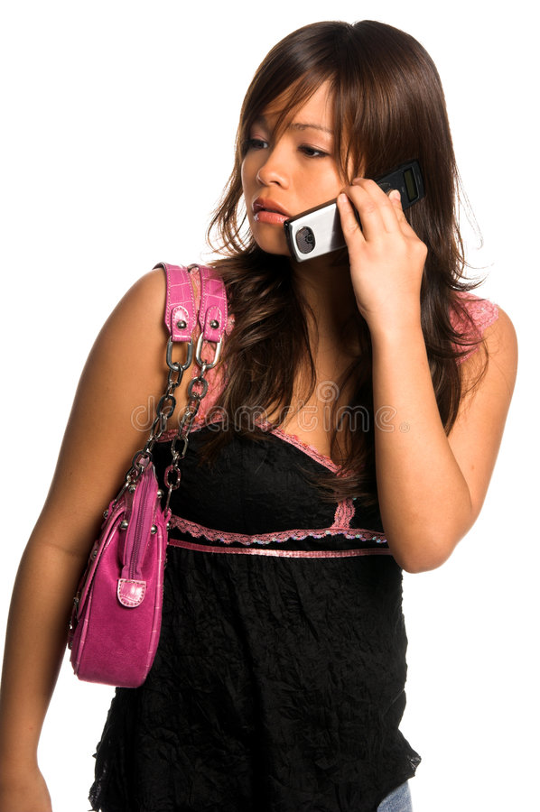 Mulher asiática do telefone de pilha imagem de stock royalty free