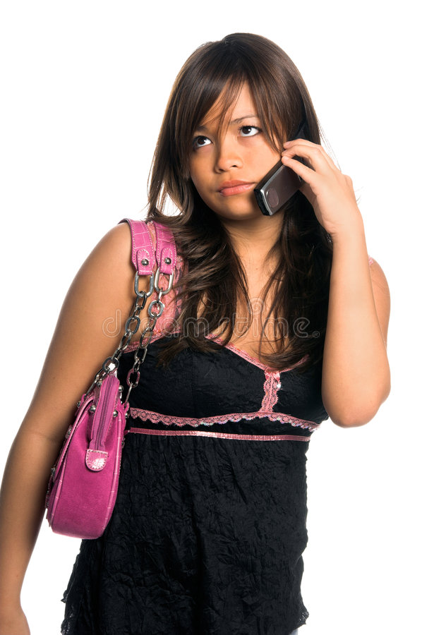 Mulher asiática do telefone de pilha fotografia de stock royalty free