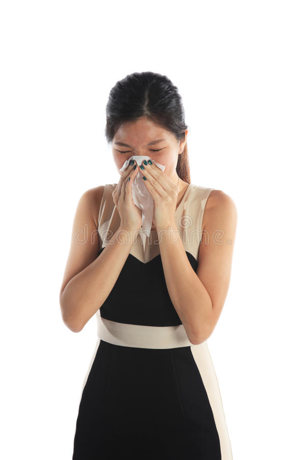 Mulher asiática doente fotografia de stock