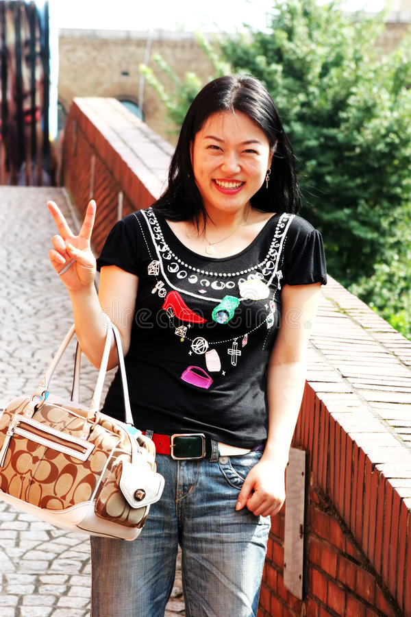 Mulher asiática feliz imagens de stock