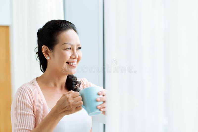 Mulher asiática madura de sorriso foto de stock royalty free