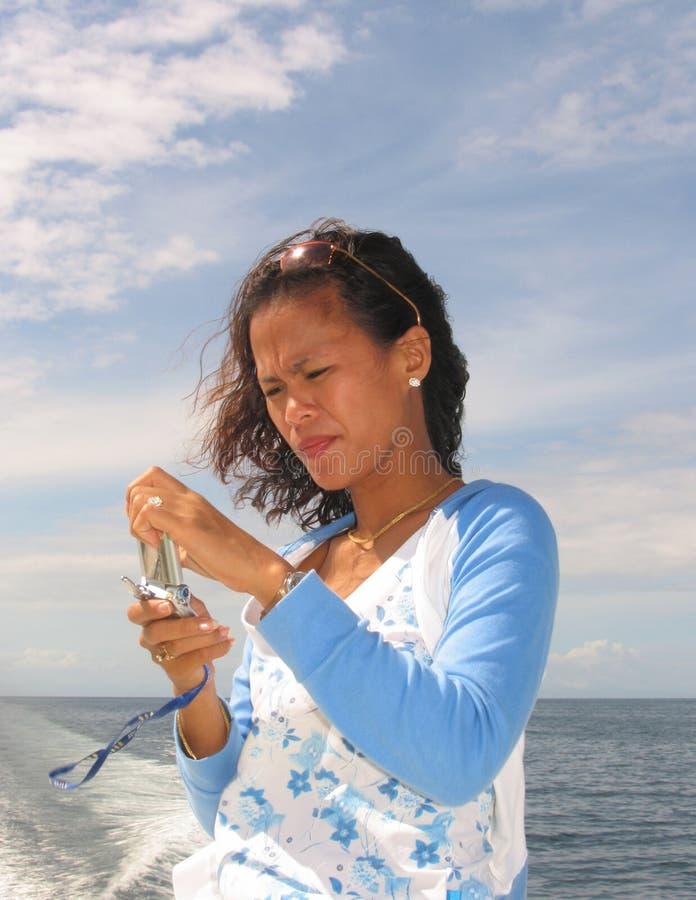 Mulher asiática no telefone 4 fotografia de stock royalty free