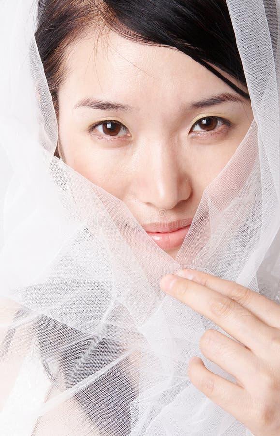 Mulher asiática no véu imagem de stock