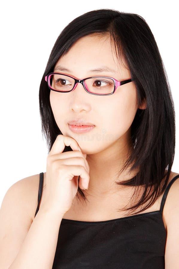 Mulher asiática nos vidros foto de stock royalty free