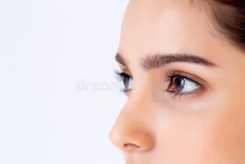 Mulher asiática nova do retrato bonito do close up com composição isolada no fundo, na cara da menina e no olho brancos fotos de stock