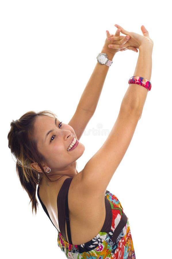 Mulher asiática nova muito feliz foto de stock