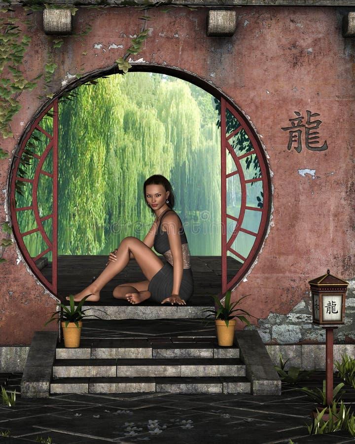 Mulher asiática nova que senta-se em um indicador da beira do lago ilustração royalty free