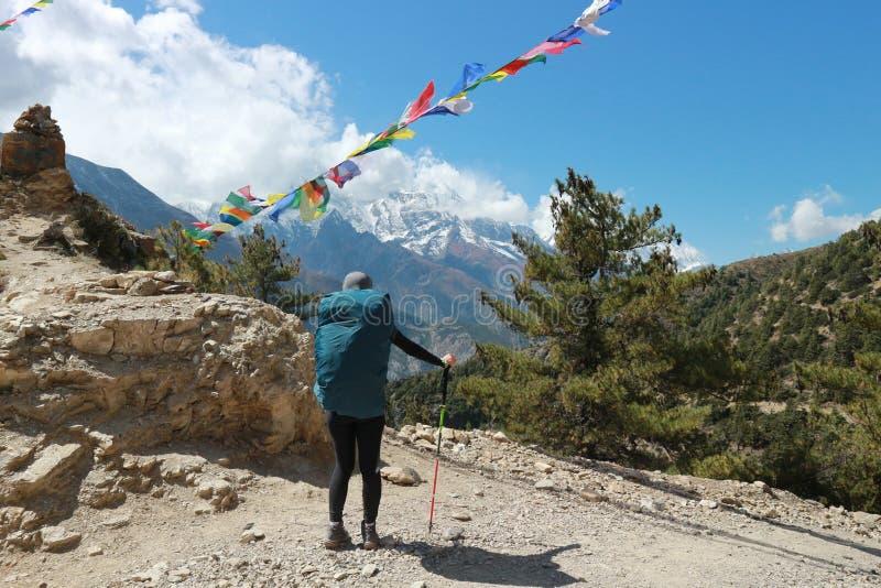 Mulher asiática trekker no vale do Everest, na rota de caminhada no campo de base em Khumbu, Nepal com a montanha de neve ao fund fotografia de stock royalty free