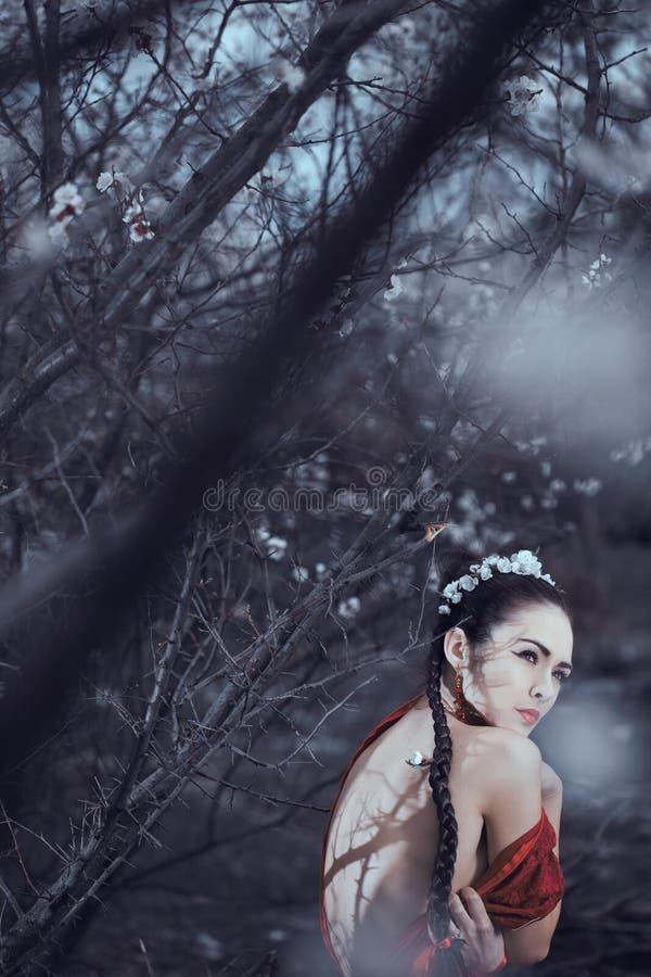 Mulher asiática triste Alma ferida imagem de stock royalty free