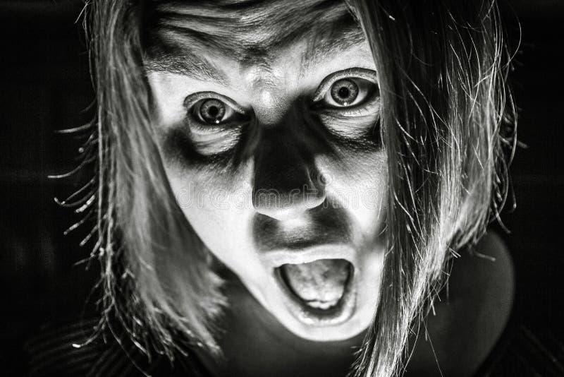 Mulher assustado fotografia de stock