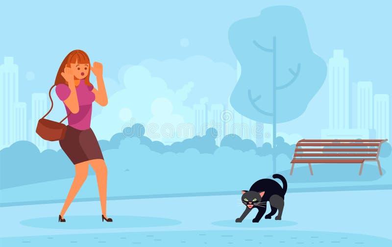 Mulher assustado do gato preto ilustração do vetor