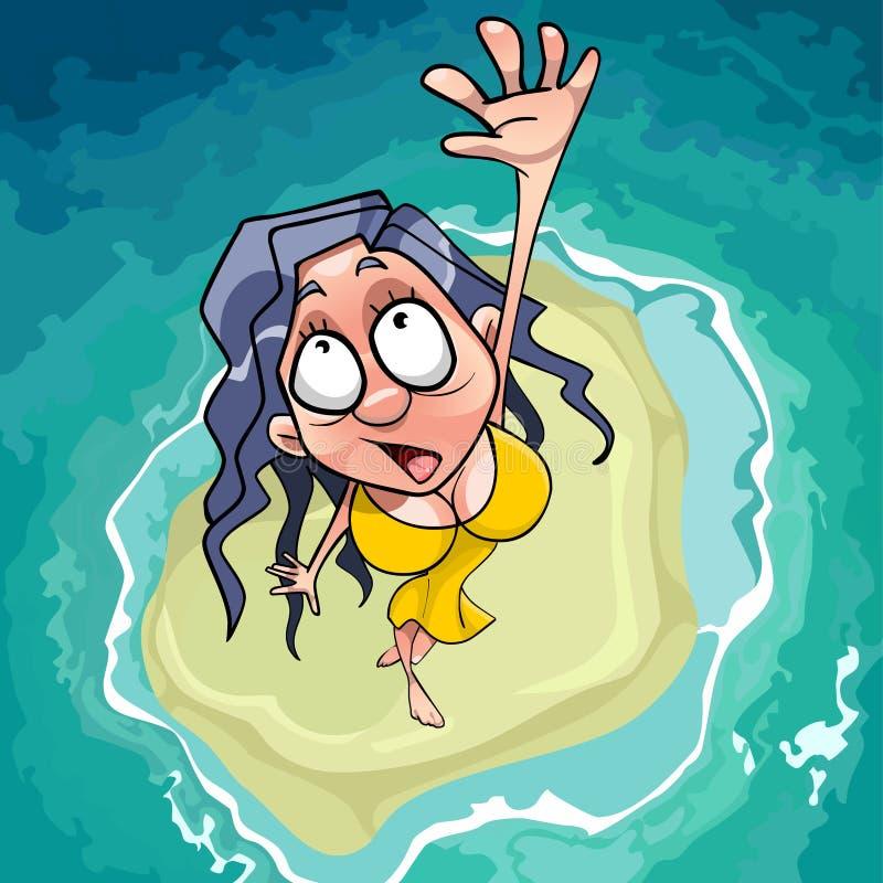 A mulher assustado dos desenhos animados cai na ilhota no mar ilustração stock