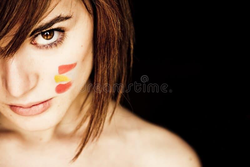 Mulher assustador com cores de Spain fotografia de stock