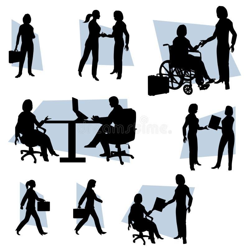 Mulher ativa das mulheres de negócio ilustração do vetor