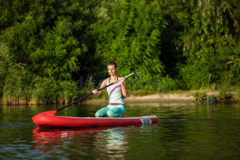 Mulher atlética nova que faz a aptidão em uma placa com um remo em um lago imagem de stock royalty free