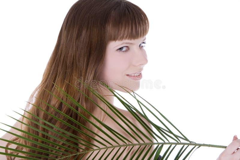 Mulher atrás da folha de palmeira verde grande imagens de stock royalty free