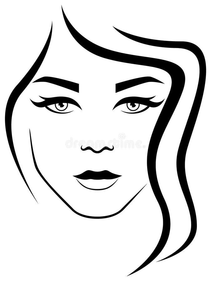 Mulher atrativa abstrata com cabelo ondulado ilustração royalty free