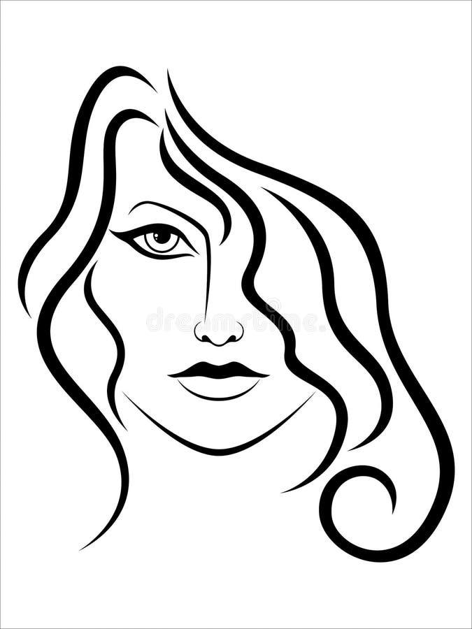 Mulher atrativa abstrata com cabelo ondulado ilustração stock