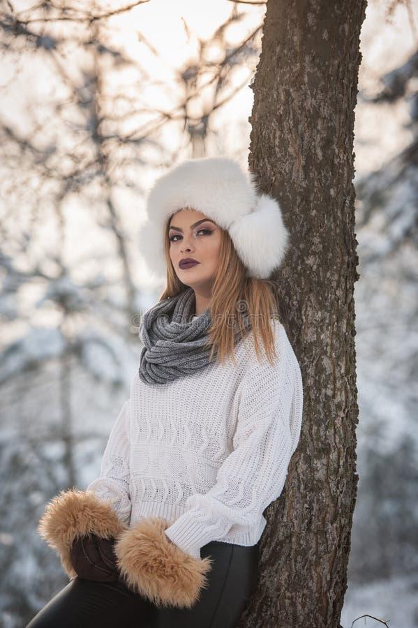 Mulher atrativa com o tampão e o revestimento brancos da pele que aprecia o inverno Ideia lateral do levantamento louro elegante  imagens de stock