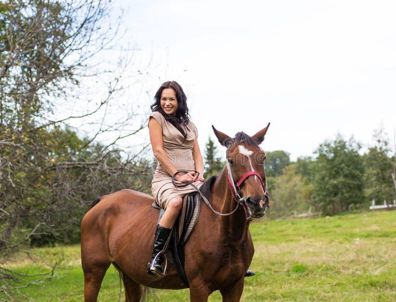 Mulher atrativa elegante que monta um prado do cavalo foto de stock royalty free