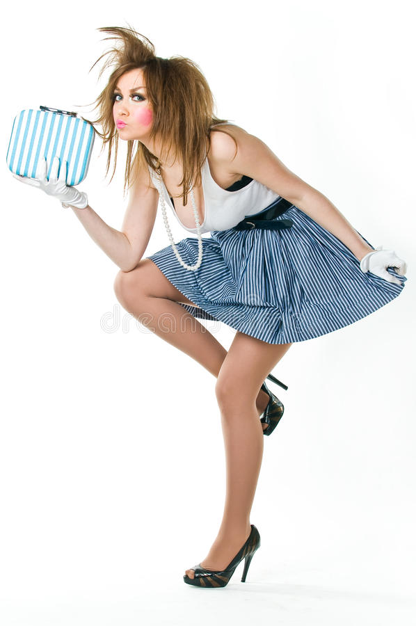 Mulher atrativa na roupa retro-denominada fotografia de stock royalty free