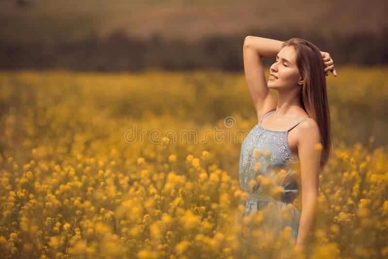 mulher atrativa no vestido no campo de flor fotografia de stock royalty free