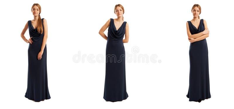 Mulher atrativa no vestido preto longo fotografia de stock