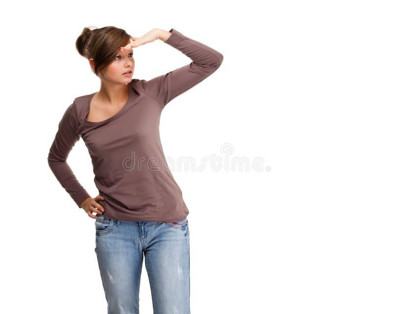 Jovem mulher isolada no fundo branco imagem de stock