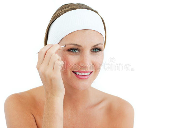 Download Mulher Atrativa Que Usa Tweezers Imagem de Stock - Imagem de senhora, escova: 12813859