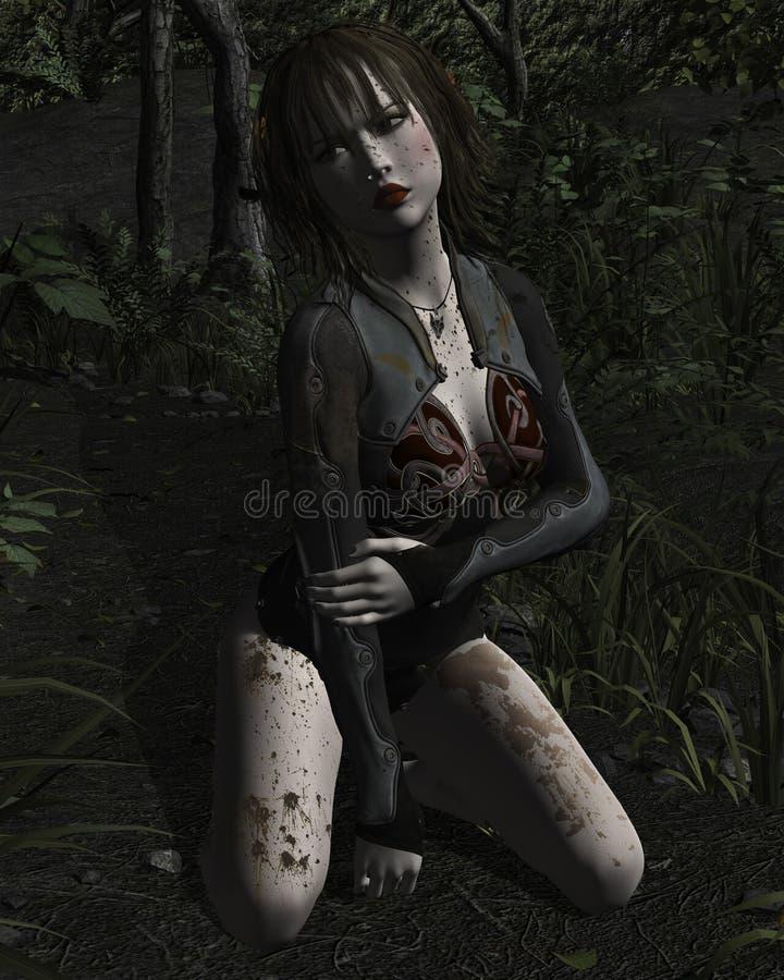 Mulher batida perdida nas madeiras e no descanso no pensamento ilustração do vetor