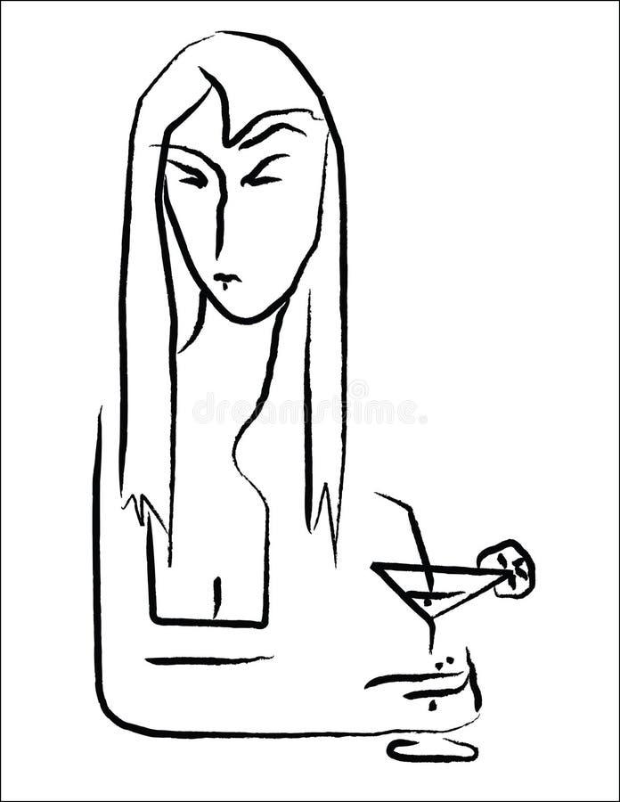 Mulher bebendo ilustração stock