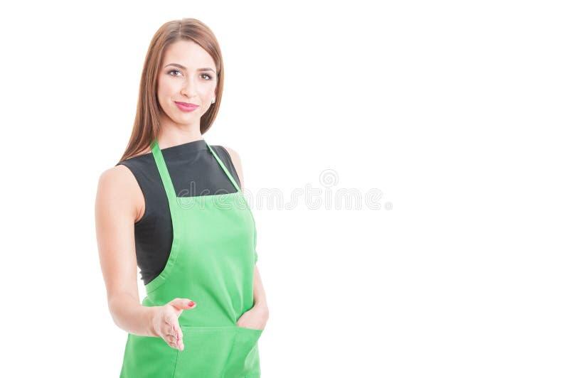 A mulher bem sucedida das vendas dá um aperto de mão fotografia de stock