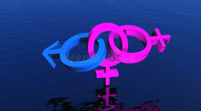 Mulher bissexual em cima do oceano ilustração do vetor