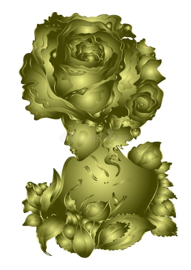 Mulher bonita - aumentou a flor, projeto dourado, convite em um fundo branco ilustração do vetor