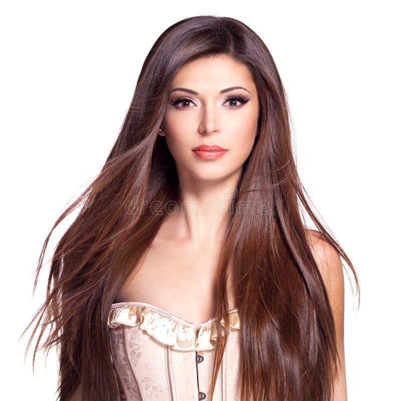 Mulher bonita branca bonita com cabelo reto longo fotografia de stock royalty free
