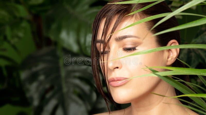 Mulher bonita cercada por plantas verdes Conceito dos cuidados com a pele e tratamento naturais dos termas foto de stock royalty free
