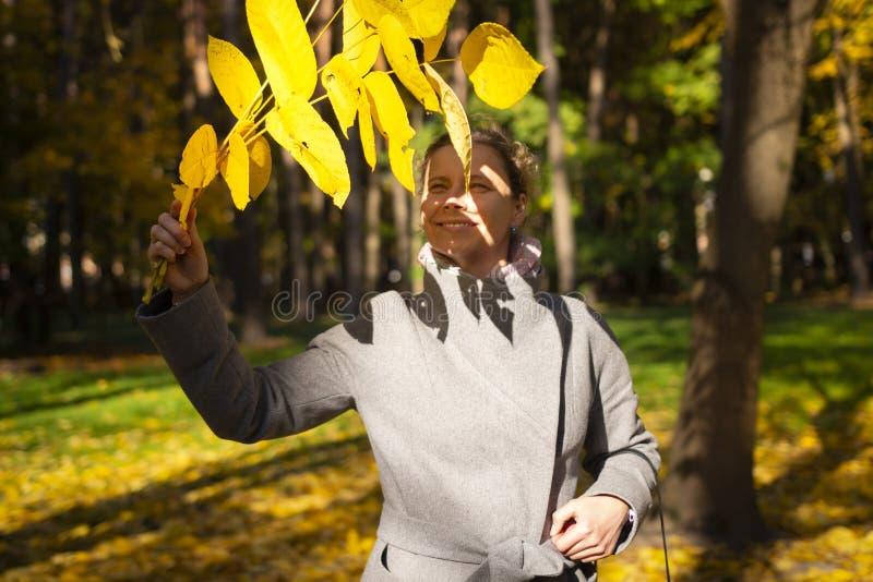 A mulher bonita com amarelo sae à disposição no parque colorido do outono no dia ensolarado Modo outonal A menina feliz anda em P imagem de stock royalty free