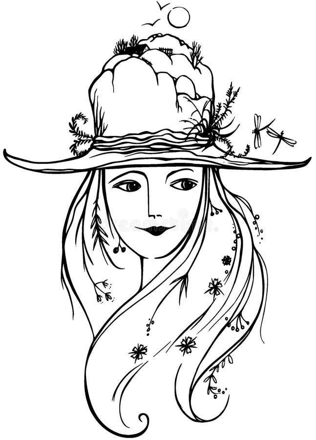 Mulher bonita com as flores no cabelo com o chapéu coberto por rochas e por plantas sob o céu com os pássaros ilustração royalty free
