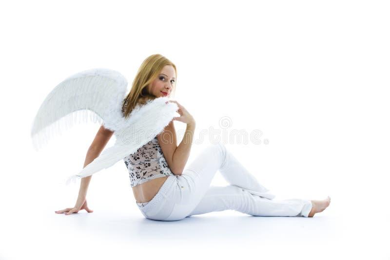 Mulher bonita com asas imagens de stock royalty free