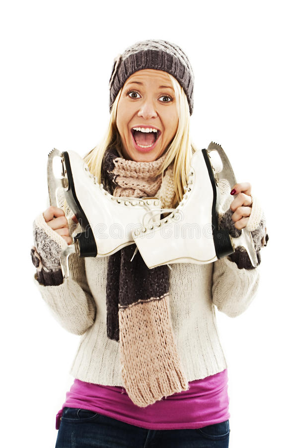 Mulher bonita com atividade do esporte de inverno da patinagem no gelo foto de stock royalty free