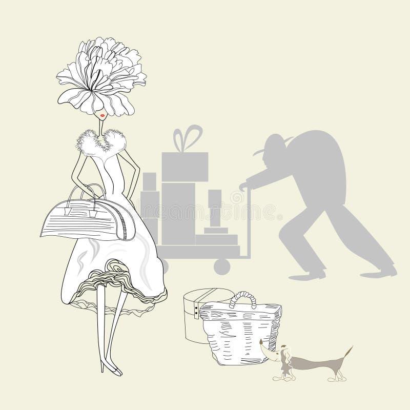 Mulher bonita com cão ilustração royalty free