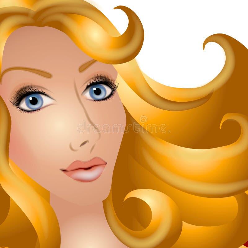 Mulher bonita com cabelo louro ilustração do vetor