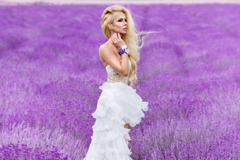 A mulher bonita com cabelo louro em um vestido de casamento branco longo bonito está em um campo com flores da urze foto de stock